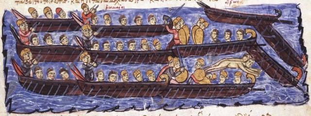 Not Richard's fleet but a fabulous picture of Oxford & Cambridge rowers in the Middle Ages